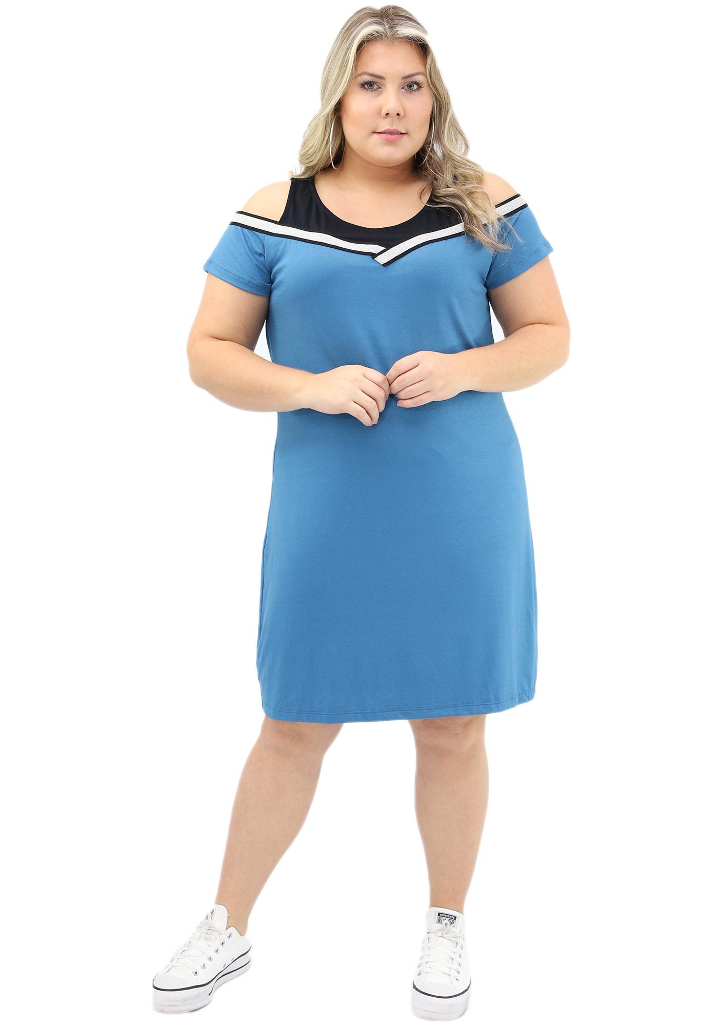Vestido Lepoque Plus Size Visco Falsa Sobreposição  (Azul Jeans)