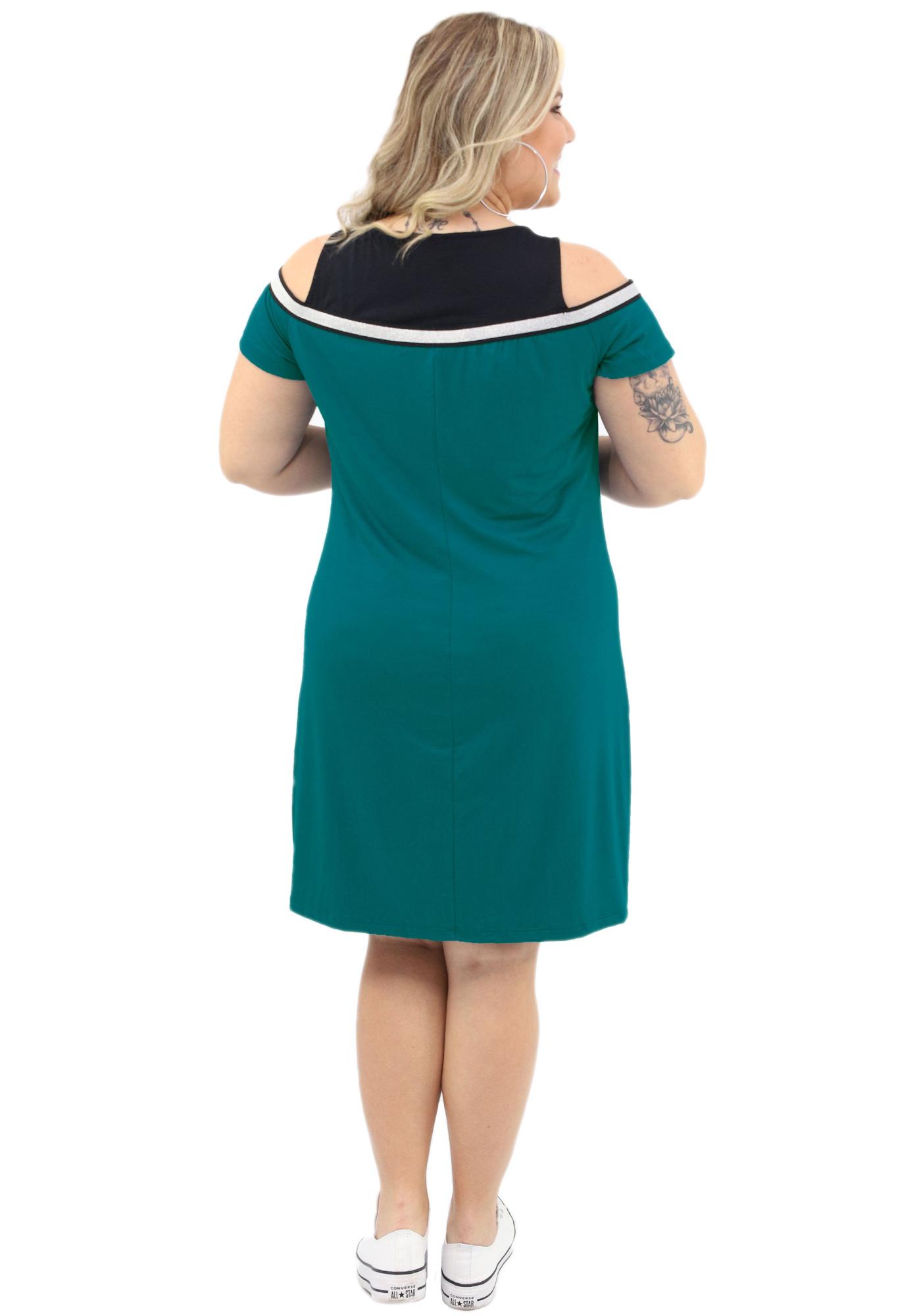 Vestido Lepoque Plus Size Visco Falsa Sobreposição  (Verde Esmeralda)