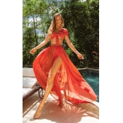 Vestido Longo Papaya Degradê Terra