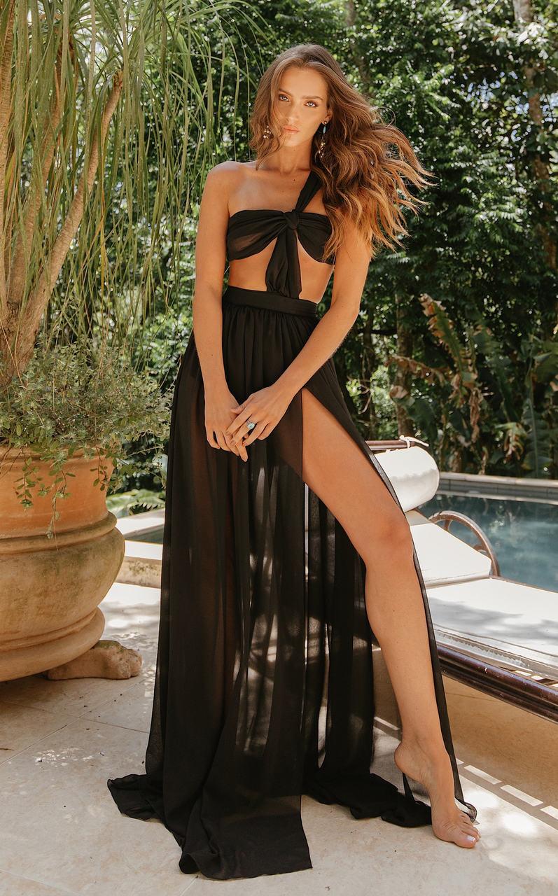 Vestido Longo Papaya Black