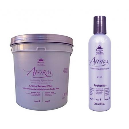 Avlon Affirm Creme Alisante Hidróxido de Sódio Normal Plus 1,8 Kg + Avlon Affirm Protecto Protetor de Fios 120ml