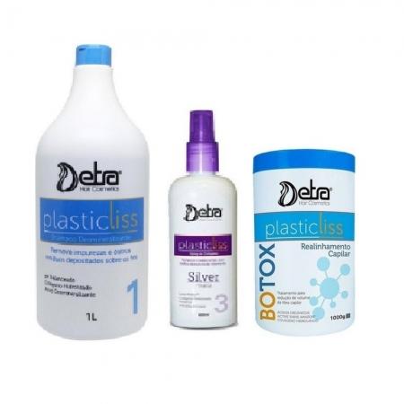 Detra Kit Redutor de Volume Plastic Liss - Shampoo 1L+ Spray 200ml + Redutor 1kg - R