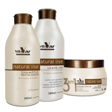 Detra Trio Natural Lise - Shampoo 280ml + Leave-in 280ml + Máscara 400g - R
