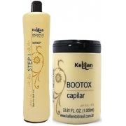 Duo Shampoo STEP 1L + Redutor de Volume Tratamento Capilar 1kg Kellan Profissional