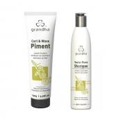 Grandha Vector Force Shampoo 300ml + Grandha Curl & Wave Piment 150g Leave-in Ativador De Cachos