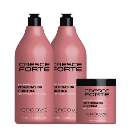Groove Professional Cresce Forte - Kit Shampoo e Condicionador 1L + Máscara 500g