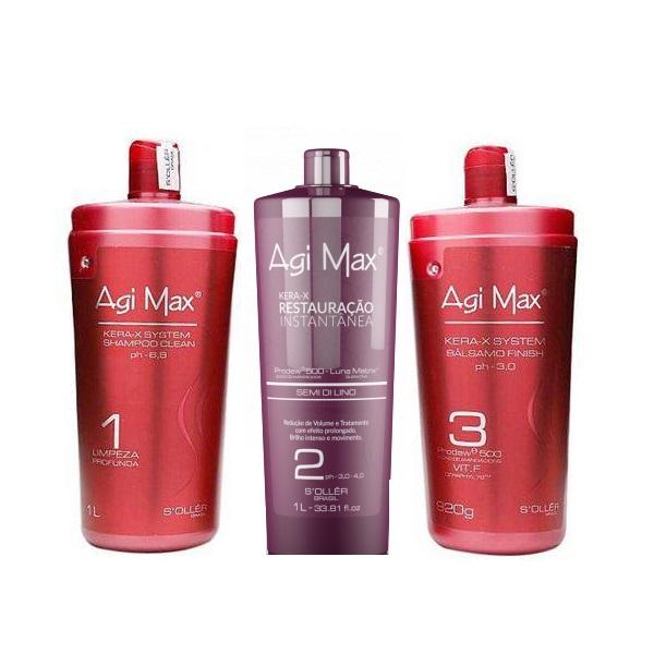 Agi Max Trio Escova Progressiva Soller Red Kera-X 3x1000ml