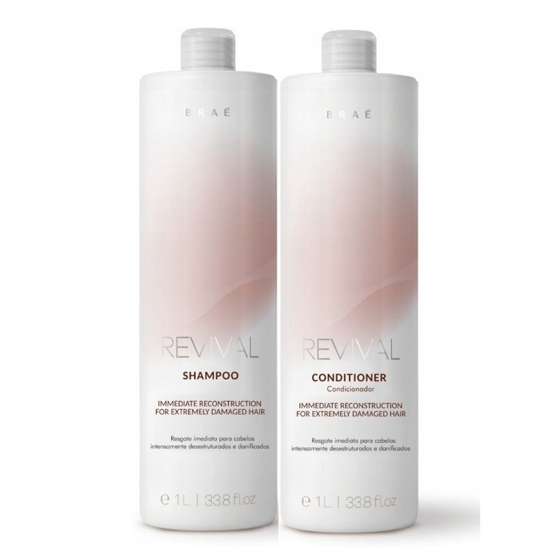 Braé Revival Kit Profissional Reconstrutor - Shampoo 1L e  Condicionador 1L