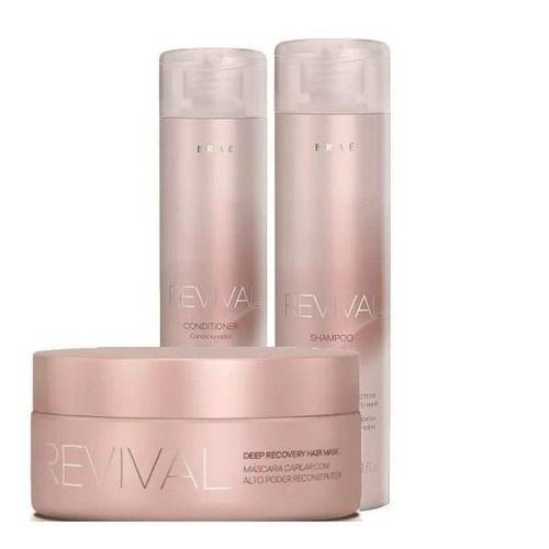 Braé Revival Shampoo, Condicionador Reconstrutor e Mascara Hidratação Profunda
