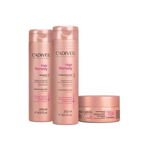 Cadiveu Hair Remedy Kit Trio Home Care Shampoo 250ml Condicionador 250ml Máscara 200g - P