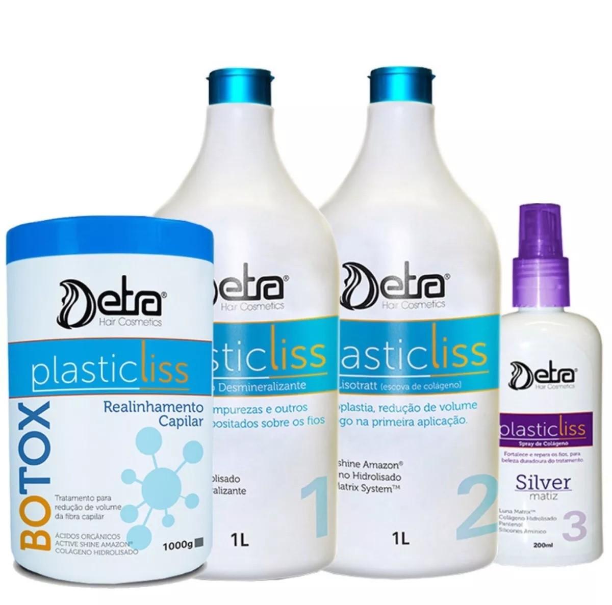 Detra Escova Progressiva Plastic Liss 1litro Sem Formol + Btox Detra Plastic Liss 1Kg - R