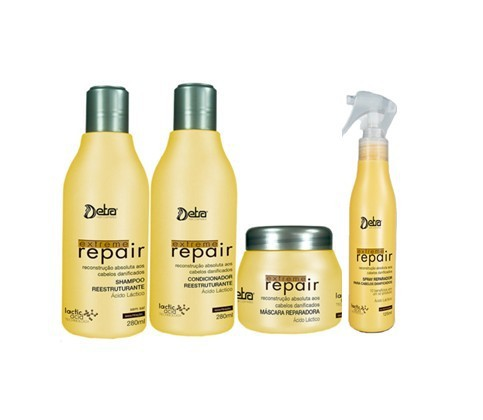 Detra Extreme Repair Kit Peq - Shampoo 280ml, Condicionador 280ml, Máscara 200g e Spray 125ml - R