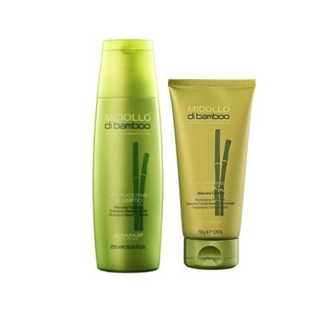 Duo Restruturing Shampoo 250ml + Recharging Mask 150ml - Midollo di Bamboo Duo Salon  Alfaparf