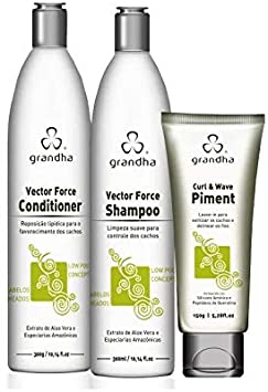 Grandha Curl & Wave Kit Manutenção Cachos - Shampoo 300ml Conditioner 300ml Leave-in 150ml