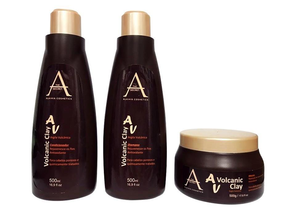 Kit Volcanic Clay Argila Alkimia Cosmetics 3x500ml