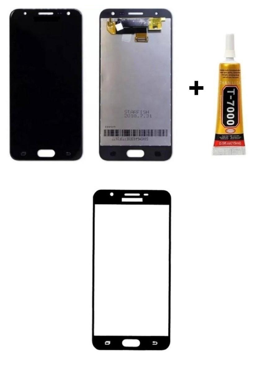 Tela Display Galaxy J5 Prime + Cola + Película 3D Preta
