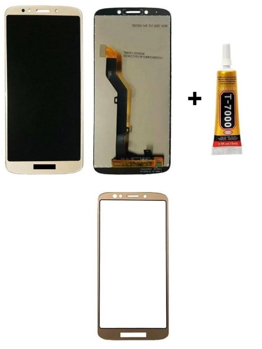 Tela Display Moto G6 Play/E5 + Cola + Película 3D Dourada