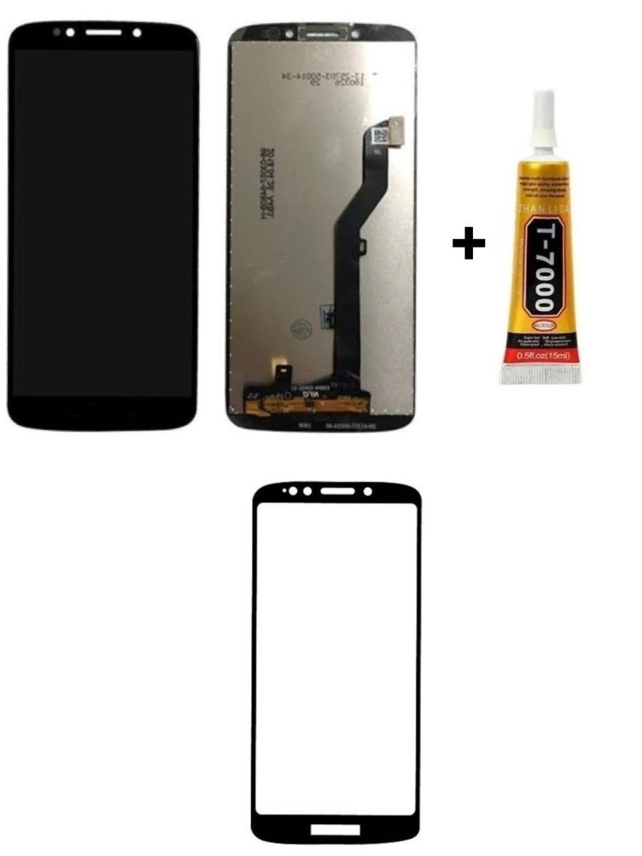 Tela Display Moto G6 Play/E5 + Cola + Película 3D Preta