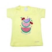 Blusa Bebê Melancia e Pompom Amarela