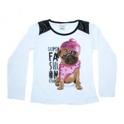 Blusa Infantil Com Recorte Pug Branca