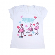 Blusa Infantil Flamingos Branca
