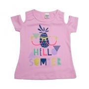 Blusa Infantil Hello Summer Rosa