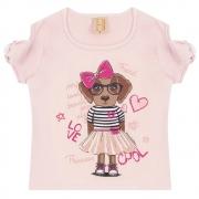 Blusa Infantil Love Dog  Rosa
