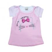 Blusa Infantil Sobreposta Gatinha Rosa