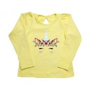Blusa Infantil Unicórnio Amarela