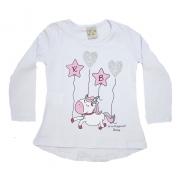 Blusa Infantil Unicórnio Branca