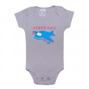 Body Bebê Avião Cinza