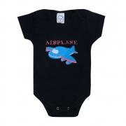 Body Bebê Avião Preto