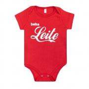 Body Bebê Beba Leite Vermelho
