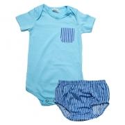 Body Bebê Com Tapa Fralda Azul