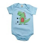 Body Bebê Dino Azul Claro