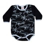 Body Bebê Dino Preto