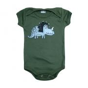 Body Bebê Dino Verde Militar