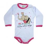 Body Bebê Elefante e Gatinha  Branco e Pink