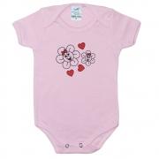 Body Bebê Flores  Rosa