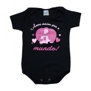 Body Bebê Frase Amor Maior Preto
