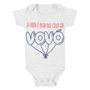 Body Bebê Frase Colo Da Vovó Cinza