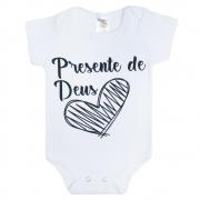 Body Bebê Frase Presente De Deus Branco