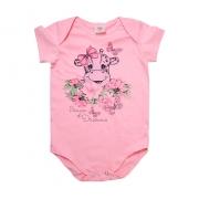 Body Bebê Girafa Rosa