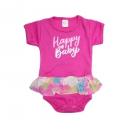 Body Bebê Happy Baby Com Babado Pink