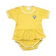 Body Bebê/Infantil Com Babado e Aplique Amarelo