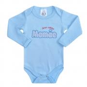 Body Bebê Manga Longa Amo Minha Mamãe Azul
