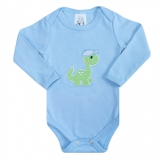Body Bebê Manga Longa Dino Azul