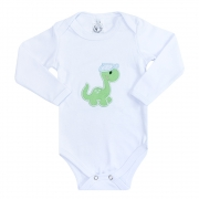 Body Bebê Manga Longa Dino Branco
