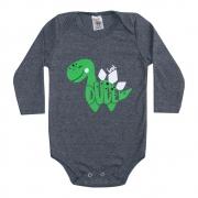 Body Bebê Manga Longa Dino Mescla Escuro