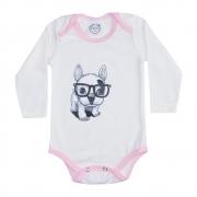 Body Bebê Manga Longa Dog Pérola